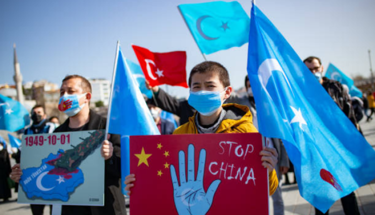 土耳其的维吾尔人抗议中国迫害新疆人权