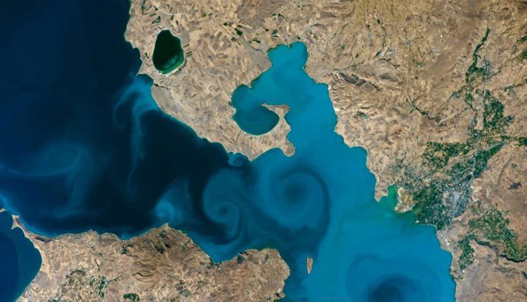 太空人从国际太空站拍摄土耳其东部万恩湖