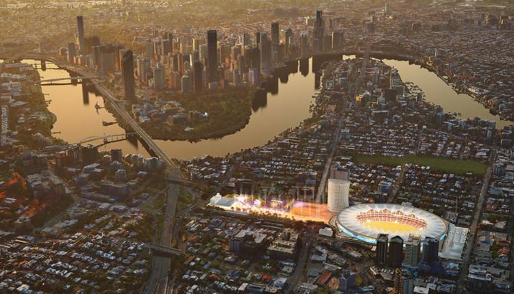 图为布里斯本板球场Gabba升级后的概念设计图