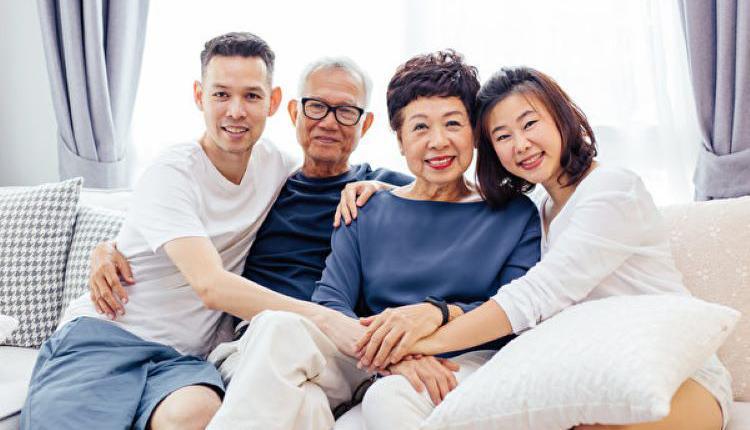 家庭,老父母和子女,快乐家庭,幸福家庭