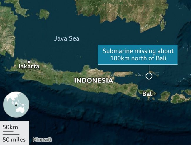 潜艇在巴厘岛北部约60海里的海域失联。