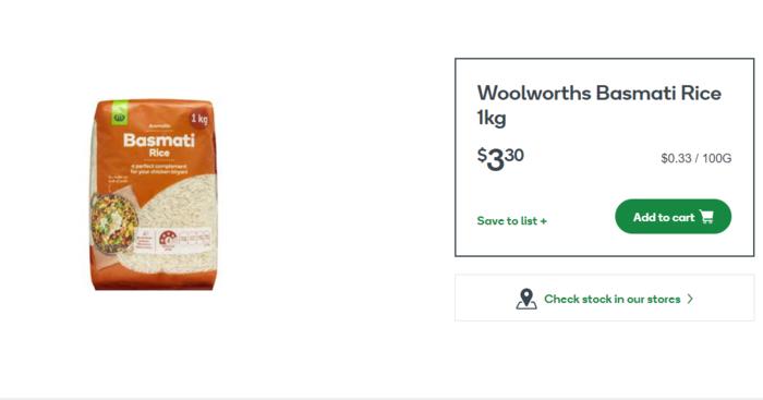 Woolworths品牌的印度香米