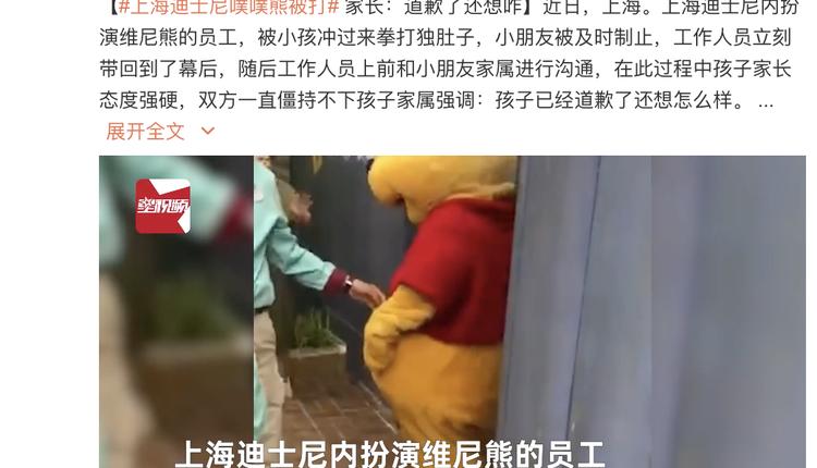 上海孩子打维尼熊玩偶但因敏感字只能称噗噗熊
