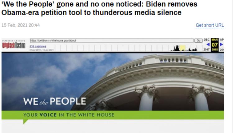 白宫请愿网站截图