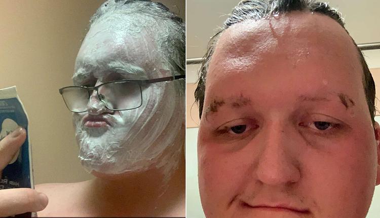 脱毛膏当剃须膏来用