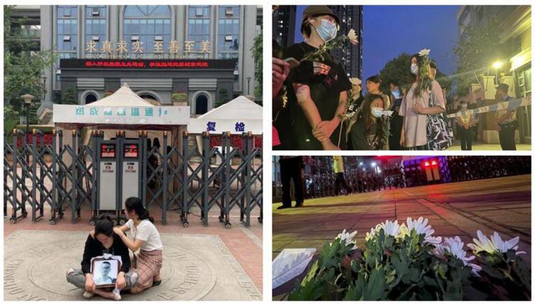 11日晚7点左右,成都市49中校门口,有人为林同学献上白色鲜花。