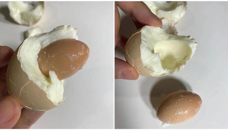台湾女网友吃鸡蛋时发现蛋中蛋