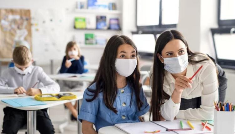 学生,上课,教师,教室,戴口罩