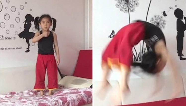 连做110个后手翻 6岁女孩拟申请世界记录