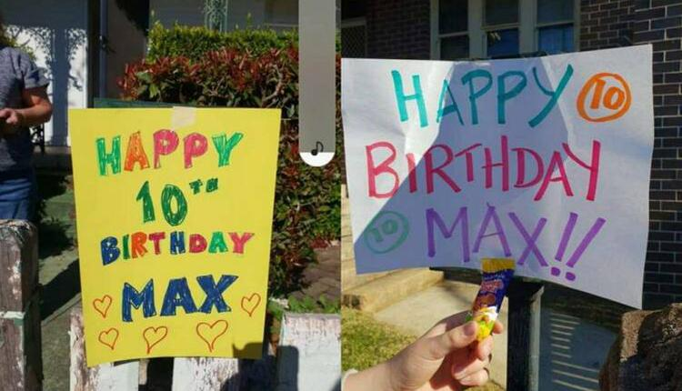 Summer Hill地区民众祝福Max十岁生日快乐