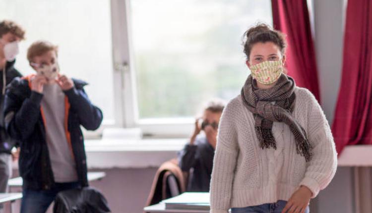 学生,戴口罩,教室,学校,疫情