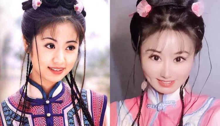 左为林心如版紫薇,右为网红模仿紫薇