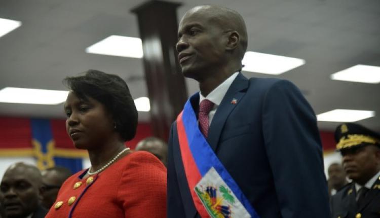 海地总统莫伊兹与妻子在就职典礼上