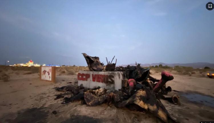 《中共病毒》雕塑被烧毁 华裔雕塑家称坚持拉锯战