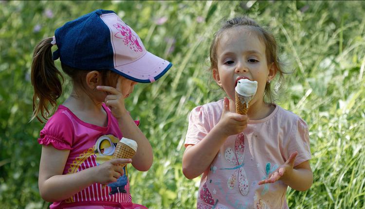 儿童,吃冰淇淋