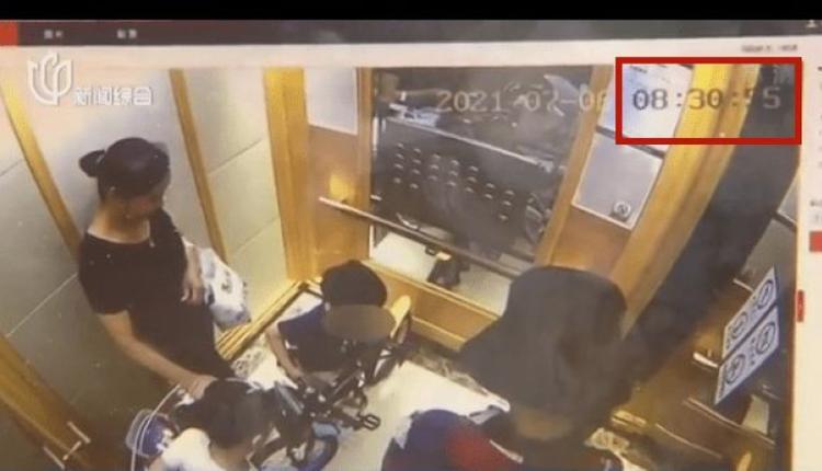 上海6岁女孩在坐电梯时被吊顶砸中头破血流