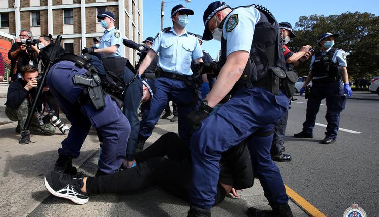 新州警方周六抗议活动(图片来源:新州警察局)