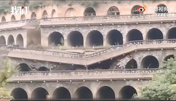 中国陕西省延安市一处窑洞群突发坍塌事故
