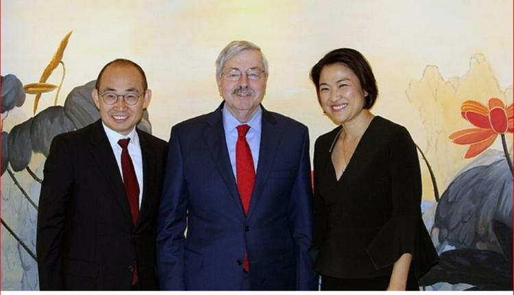 SOHO中国CEO潘石屹、张欣与美国驻华大使泰里·布兰斯塔德