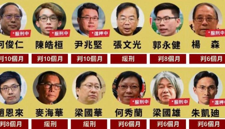 泛民12人被判刑