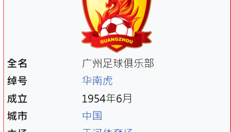 恒大拥有的中国广州足球队标志