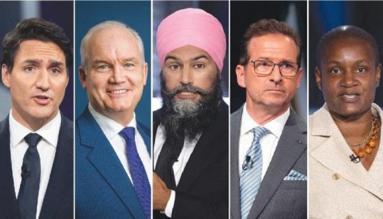 2021年9月8日晚,加拿大五大政党党领在魁省加蒂诺进行法语大选辩