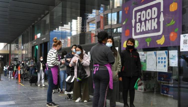食品银行,国际学生排队领食物